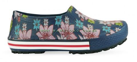 Tênis Profissional Iate Works II Estampado Flor Rosa - Azul Marinho
