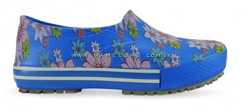 Tênis Profissional Iate Works II Estampado Flor Rosa - Azul Royal