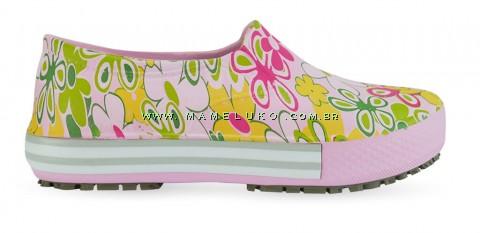 Tênis Profissional Iate Works II Estampado Flor Verde - Rosa