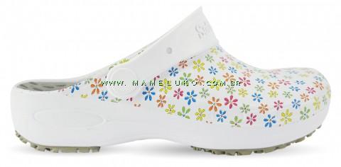 Babuche Profissional Plus Estampado com Palmilha - Mini Flores Coloridas