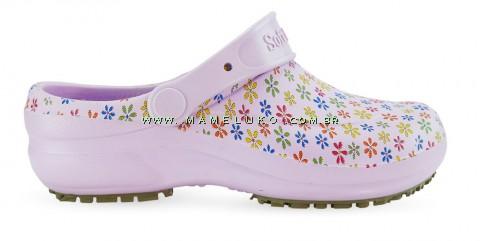 Babuche Profissional Soft Works Estampado Flores - Ameixa
