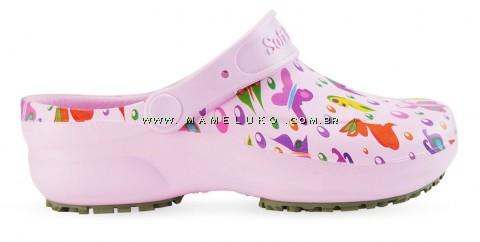 Babuche Profissional Soft Works Estampado Borboletas - Rosa