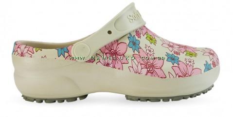 Babuche Profissional Soft Works Estampado Flor Rosa - Bege