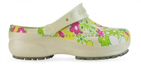 Babuche Profissional Soft Works Estampado Flor Verde - Bege