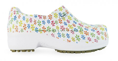 Sapato Profissional Soft Works II Estampado CA 31898 - Mini Flores Coloridas - Branco