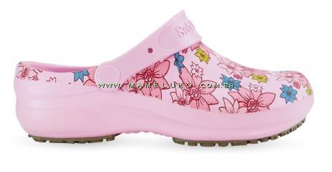 Babuche Profissional Soft Works Estampado Flor Rosa - Rosa