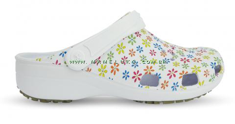 Babuche Vazada Estampada com Solado Antiderrapante - Mini Flores Coloridas