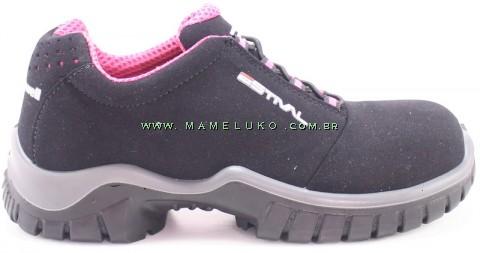 Tênis de Segurança Estival PRO Energy Antichoque Elétrico BICO DE COMPOSITE - Preto com Pink