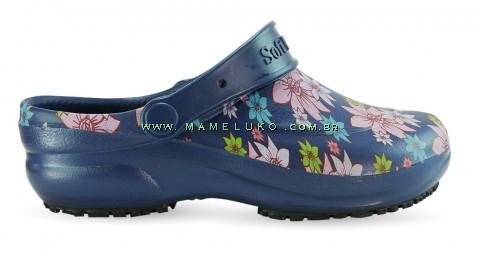 Babuche Profissional Soft Works Estampado Flor Rosa - Azul Marinho