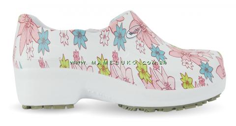 Sapato Profissional Soft Works II Estampado - Flor Rosa