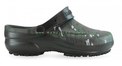 Babuche Profissional Soft Works Estampado Militar - Preto