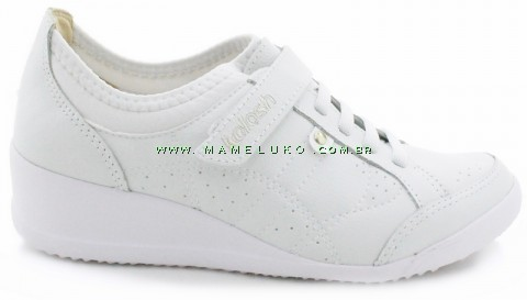 Tênis Kolosh C0343 Anabela com Velcro - Branco