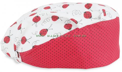 Touca Elástica Profissional Joaninhas - Branca com Aba Poá Vermelha