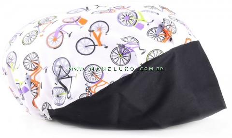 Touca Elástica Profissional Bicicletas - Branca com Aba Preta