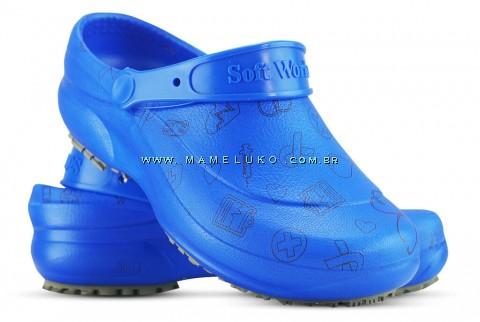 Babuche Profissional Soft Works Estampado - Ícones Pretos - Azul Royal
