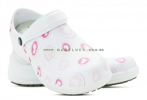 Babuche Profissional Soft Works Estampado Com Palmilha - Corações Rosas - Branco