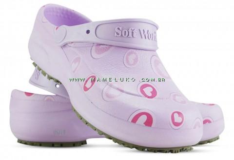Babuche Profissional Soft Works Estampado - Corações Rosas - Lilas