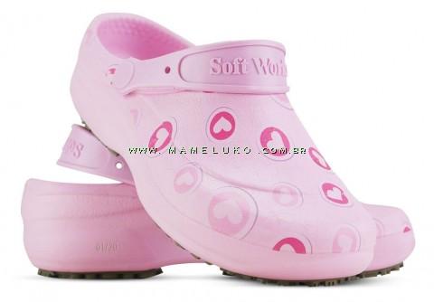 Babuche Profissional Soft Works Estampado - Corações Rosas - Rosa