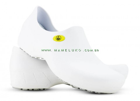 Sticky Shoe Woman Antiestático ESD Sem Bico - Branco