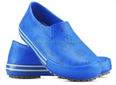 Tênis Profissional Iate Works II Estampado Ícones Pretos - Azul Royal
