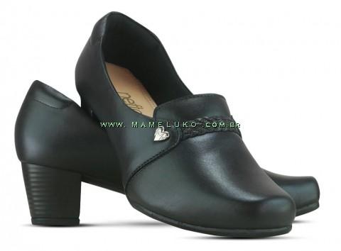 Sapato em Couro Salto Alto Quadrado Neftali 52005 - Preto - Pin Eletro Coração
