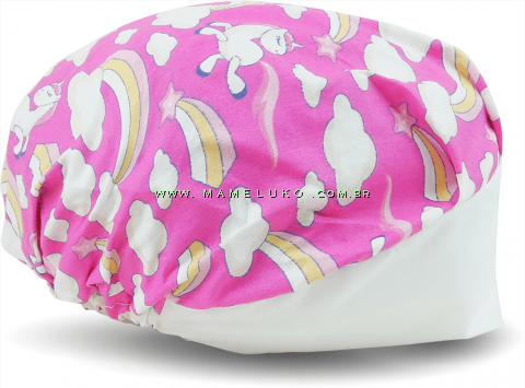 Touca Elástica Profissional Unicórnio - Pink, Aba Branca