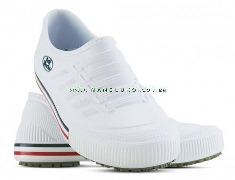 Tênis Profissional Antiderrapante Soft Works - Branco com faixa colorida
