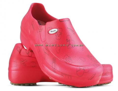 Sapato Profissional Soft Works II Estampado Vermelho - Ícones Pretos