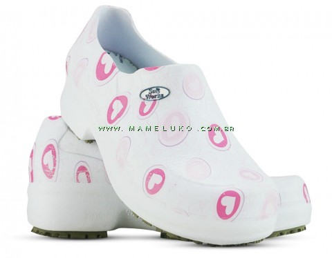 Sapato Profissional Soft Works II Estampado Branco - Corações Rosas