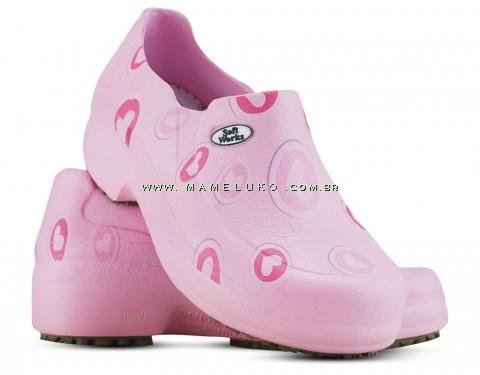 Sapato Profissional Soft Works II Estampado Rosa - Corações Rosas