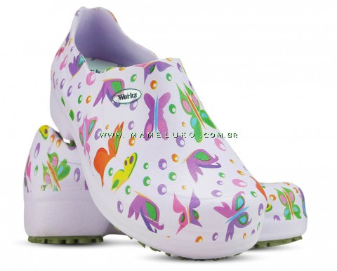 Sapato Profissional Soft Works II Estampado Borboleta - Ameixa