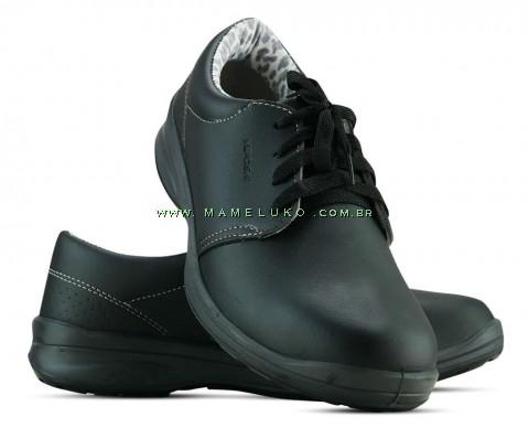Sapato Com Cadarço Microfibra - Preto