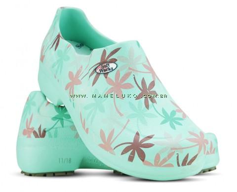 Sapato Profissional Soft Works II Estampado Folhagem Salmão - Verde Medicina