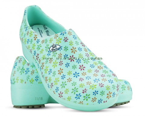 Sapato Profissional Soft Works II Estampado Verde Medicina - Mini Flor