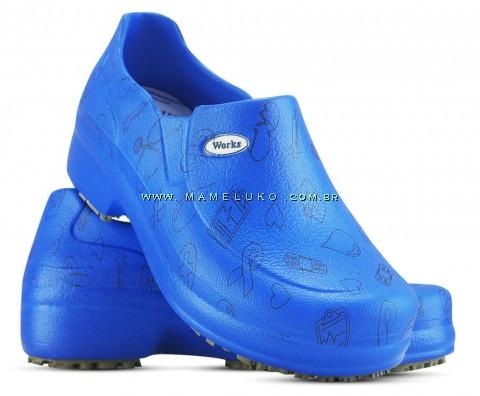 Sapato Profissional Soft Works II Estampado Azul Royal - Ícones Pretos