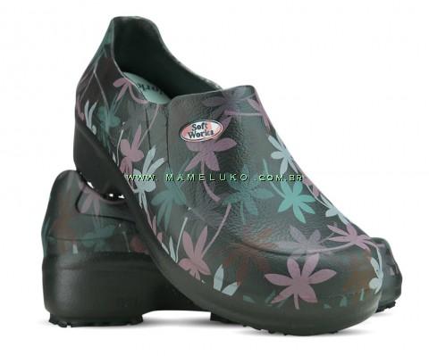 Sapato Profissional Soft Works II Estampado Folhagem Salmão - Preto