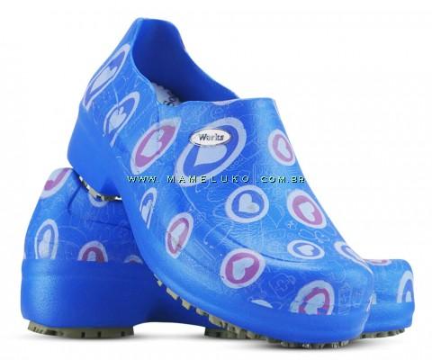 Sapato Profissional Soft Works II Estampado Azul Royal - Corações Rosas