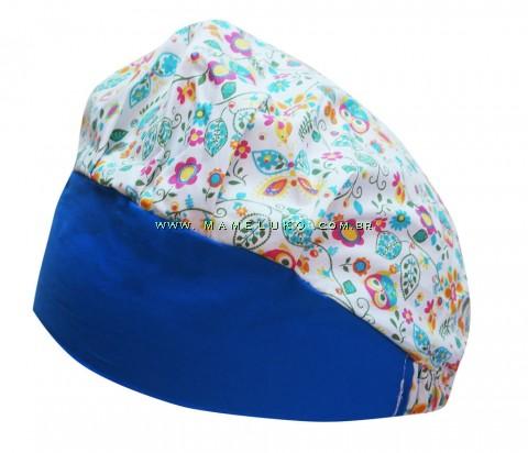 Touca Elástica Profissional Borboletas e Corujas - Branco com Aba Azul