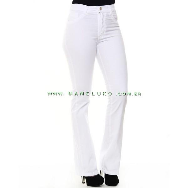 1d86caadb Calça Jeans Feminina Sawary Flare Hot Pants Detalhe Dourado - Branca