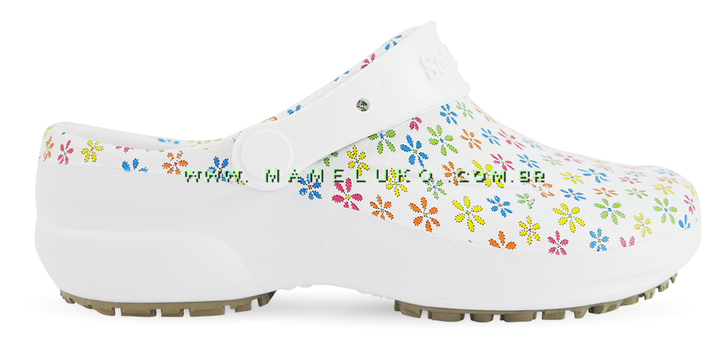 5de953cbb Babuche Profissional Soft Works Estampado - Branco com Flores