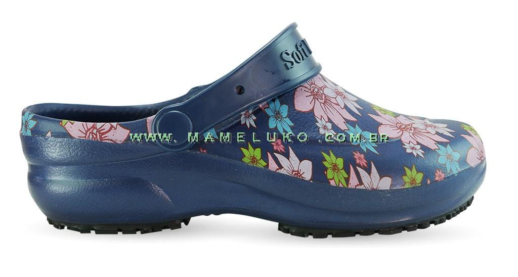 83b0cfa5b Babuche Profissional Soft Works Estampado Flor Rosa - Azul Marinho