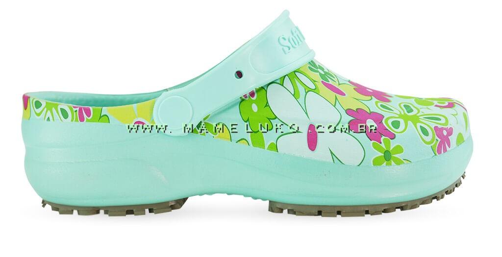 ace9577a9 Babuche Profissional Soft Works Estampado Flor Verde - Verde Medicina