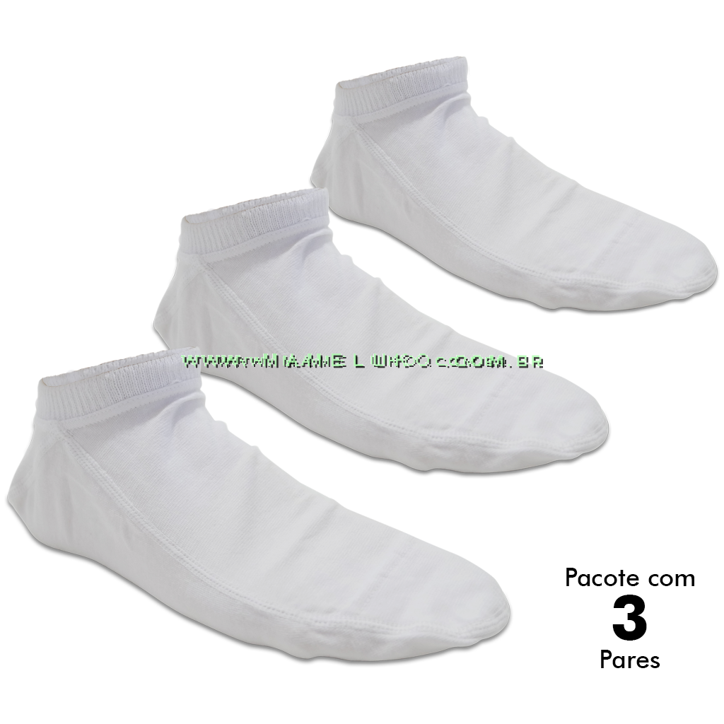 3f5367e11 Kit com 3 pares de Meia Onfit Caiaque - Branco
