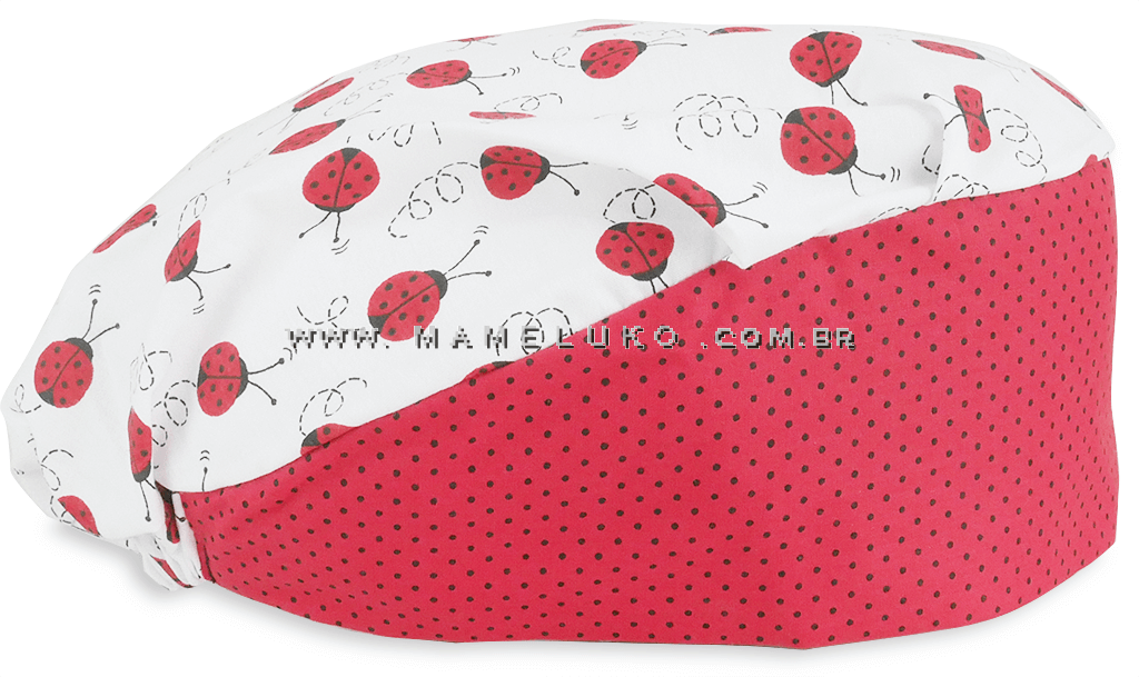 6480f49076f83 Touca Elástica Profissional Joaninhas - Branca com Aba Poá Vermelha