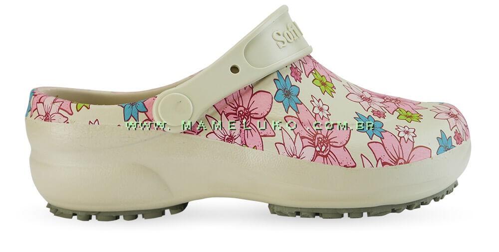 6326a548e Babuche Profissional Soft Works Estampado Flor Rosa - Bege