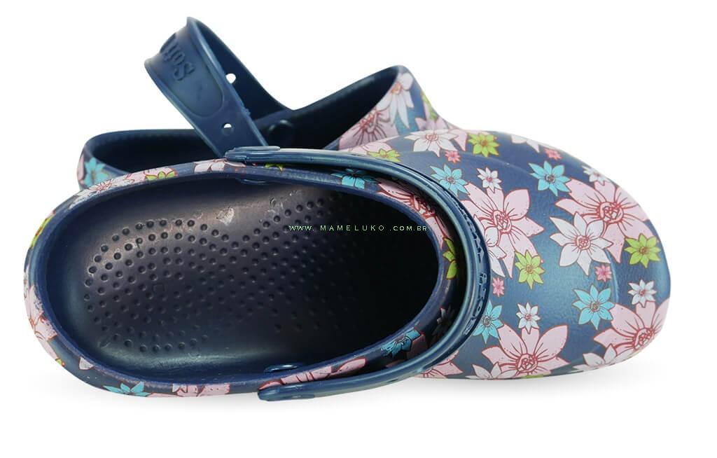 9b01c3331 ... Babuche Profissional Soft Works Estampado Flor Rosa - Azul Marinho ...