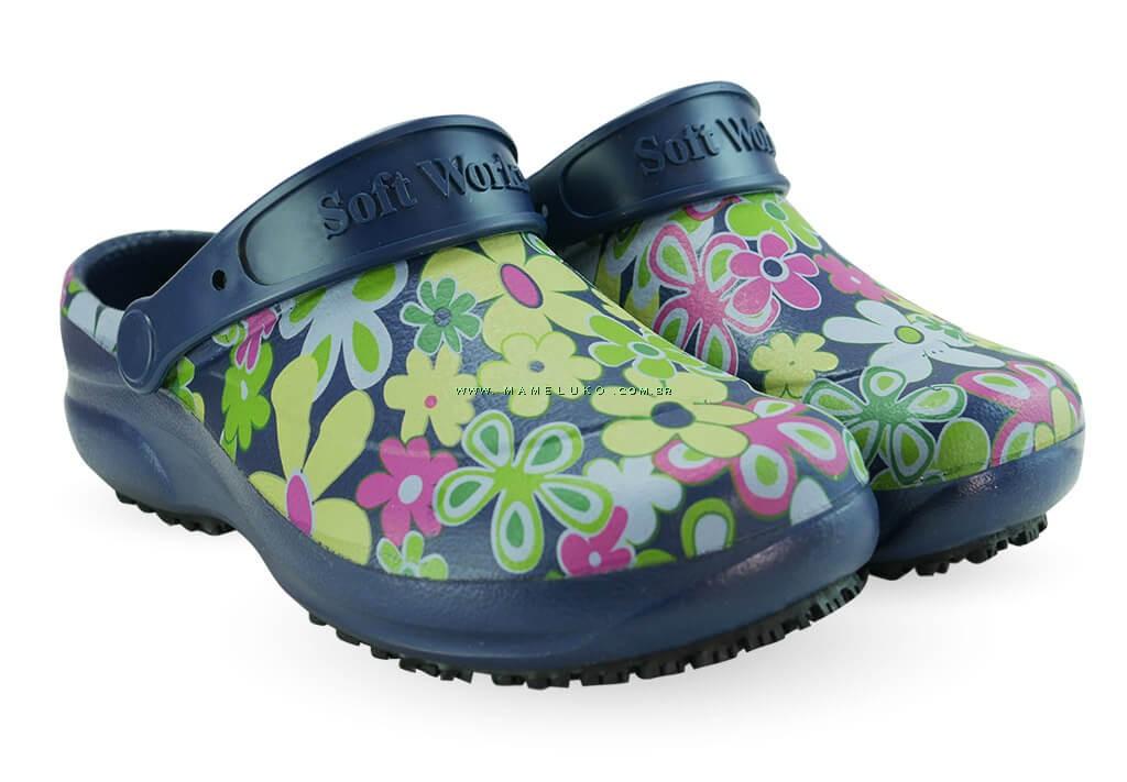 191a29ea1 ... Babuche Profissional Soft Works Estampado Flor Verde - Azul Marinho ...