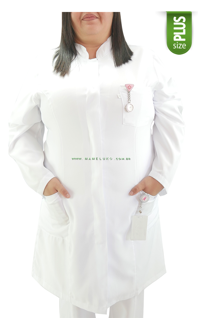5c987138df ... Jaleco Feminino Microfibra Gola Padre  PLUS SIZE  - Branco