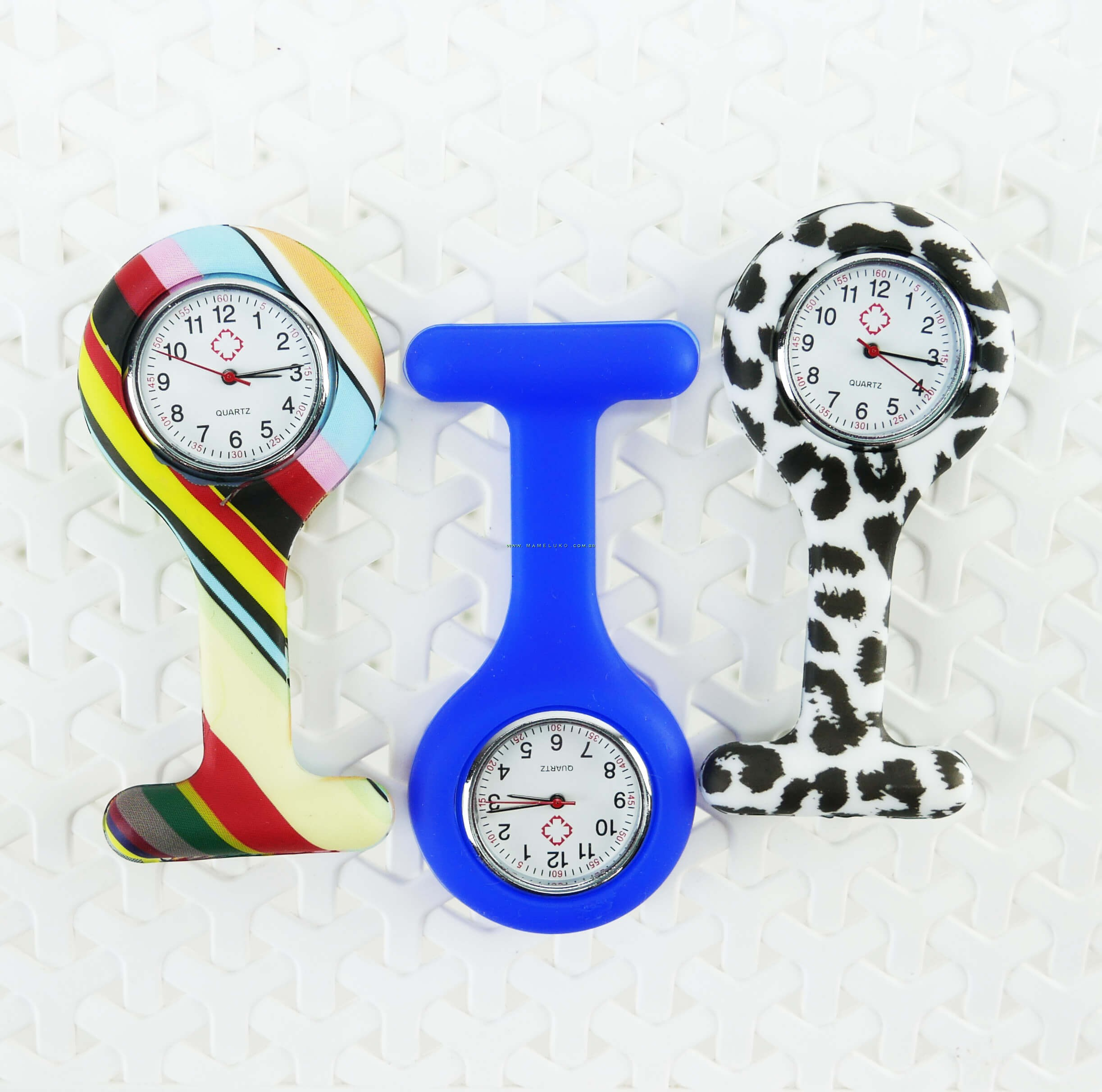 137ea2e2b27 ... Relógio de Jaleco Silicone Estampada Listras - Colorida ...