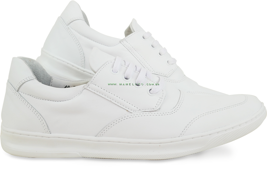 2c1bd63a7 ... Sapato Masculino em Couro 748 Cadarço - Branco ...